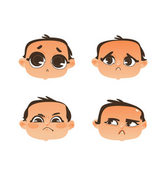 Flat baby face expression emotion set vector