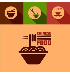 flat chinese food icons vector image