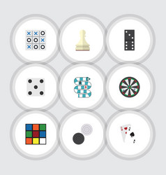 Flat icon games set of xo backgammon bones game vector