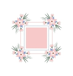 Floral vignette in the form of a rectangle vector