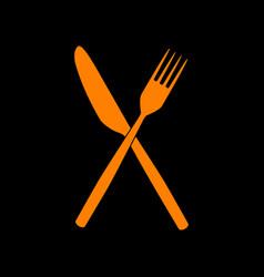 fork and knife sign orange icon on black vector image