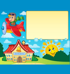 frame with airplane and school vector image