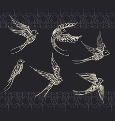 Freehand drawing of birds swallows vector