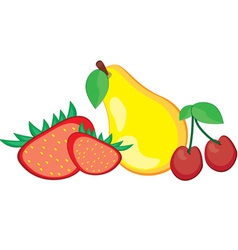 fruit pear strawberry and cherry vector image