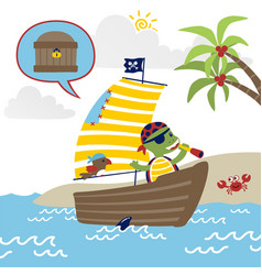 funny pirate cartoon on sailboat vector image
