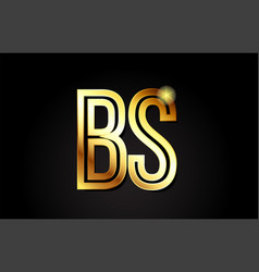 Gold alphabet letter bs b s logo combination icon vector