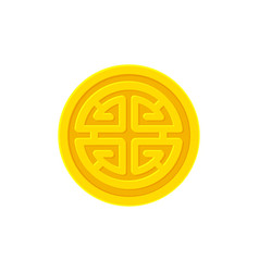 golden coin with chinese prosperity symbol lu vector image