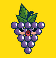 grapes fresh fruit character handmade drawn vector image