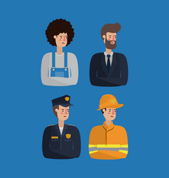 group of workers avatars characters vector image
