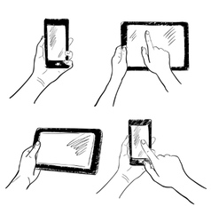 Hands touchscreen sketch set vector