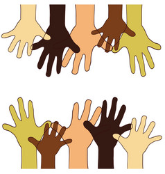 hands up of different races colors nationalities vector image
