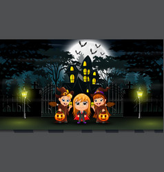 happy halloween celebrate in front of the hounted vector image
