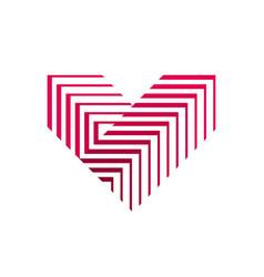 heart logo v letter logo design vector image