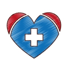 heart with medical symbol vector image