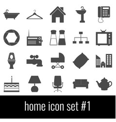 home icon set 1 gray icons on white background vector image