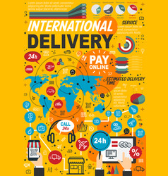 international delivery service statistics vector image