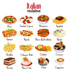 Italian cuisine icons vector