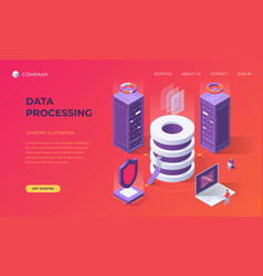 Landing page for data base processing vector
