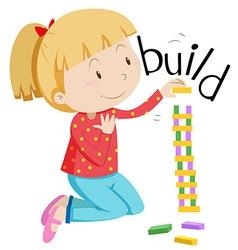 Little girl stacking the blocks vector image