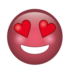 Love emoticon style icon vector