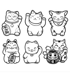 Lucky cat maneki neko black amp white set japan vector