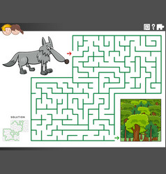 Maze educational game with wolf and forest vector