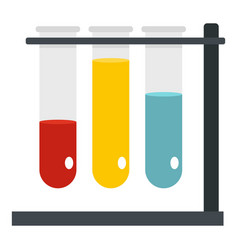 Medical test tubes in holder icon isolated vector