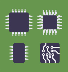 micro chip processor icons set cpu electronic vector image