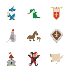 Military armor icons set cartoon style vector