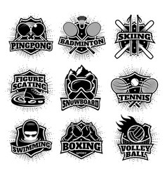 Monochrome sport logos set vector