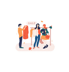 People browsing clothes on a rack in store vector