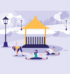 people performing stretching in park with kiosk vector image