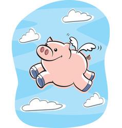 Pig flying vector