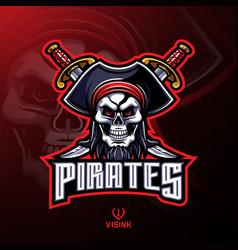 pirates skull mascot logo design vector image