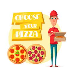 Pizza delivery man with open box cartoon icon vector