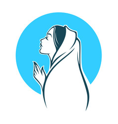 portrait virgin mary for your logo label vector image