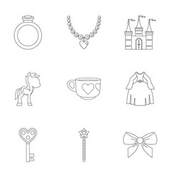 Princess things icon set outline style vector