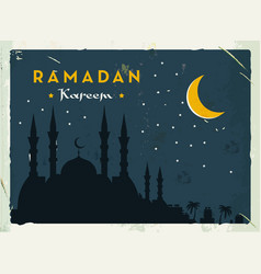 Ramadan kareem retro banner grunge vintage style vector