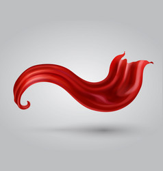 Red satin fabric flying flowing silk drape vector