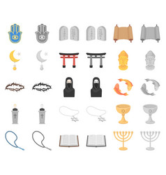 Religion and belief cartoonmonochrom icons in set vector