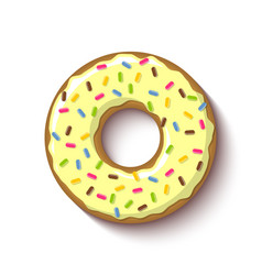 Ring shaped donut covered with vanilla or lemon vector