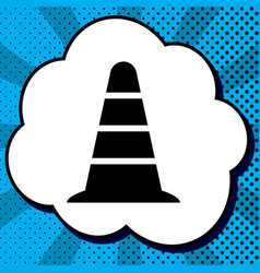 road traffic cone icon black icon in vector image