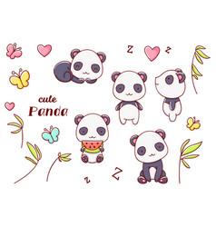 Set cute kawaii hand drawn panda doodles isolated vector