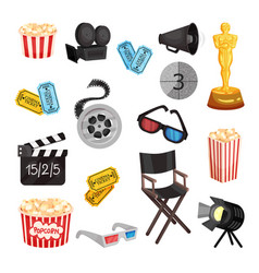 Set movie items on a white vector
