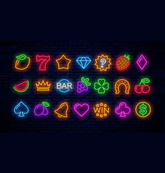 set neon gaming icons for casinos vector image