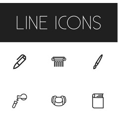 Set of 6 editable science icons includes symbols vector