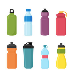 Set of bicycle plastic bottle vector