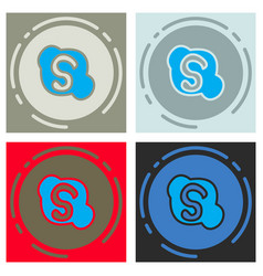 set of unusual look skype logo vector image
