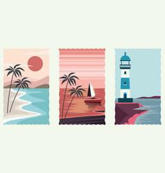 Set sea scape flat scenes vector
