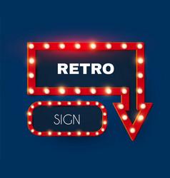 shining retro light arrow and rectangle sing set vector image